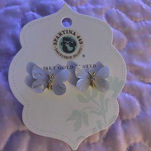 Spartan 449 18k plated butterfly earrings new
